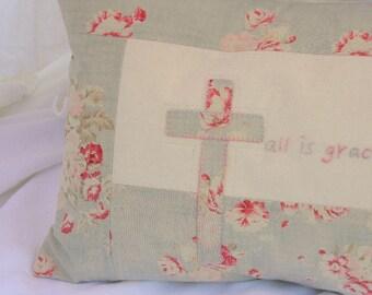 Shabby Chic Pillow- Farmhouse Decor- Farmhouse Pillow- Cottage Pillow- Patchwork Pillow- Shabby Chic Accent Pillow- Shabby Cushion