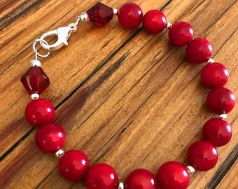 Red Coral Bead Bracelet