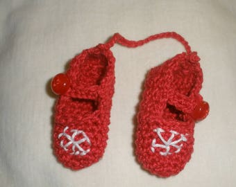 Christmas decoration red crochet slippers
