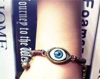 Free Shipping! evil eye bracelet, Handmade Bracelet, adjustable chain