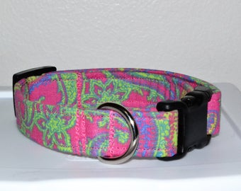 Pink Green flowers and paisley  Dog Collar Adjustable buckle or martingale style, breakaway cat collar