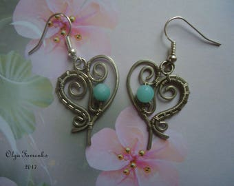 German silver earrings with amazonite