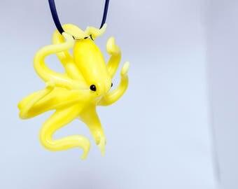 Glass Octopus Sculpture Pendant, Opaque Banana Yellow