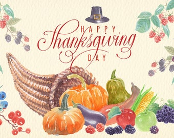 Watercolor Thanksgiving png clipart images of watercolor Ideal printable cards posters stickers congratulations and more.