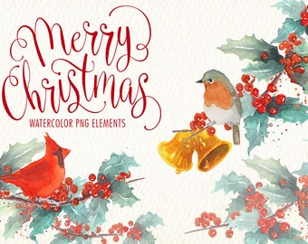 watercolor christmas clipart png. Clipart of watercolor. Ideal for, printables, cards, posters, stickers, web and more