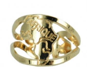 Africa map ring - Plated gold