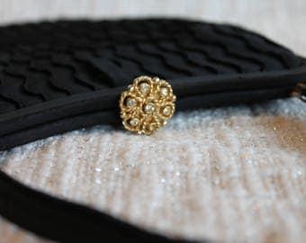 Vintage Black Evening Bag, Vintage Purse