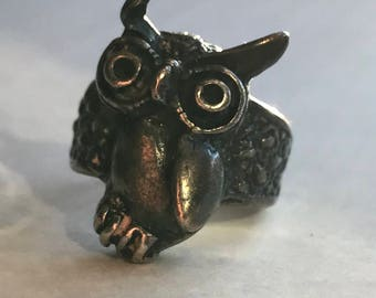 Solid Silver Owl Ring Marked STERLING