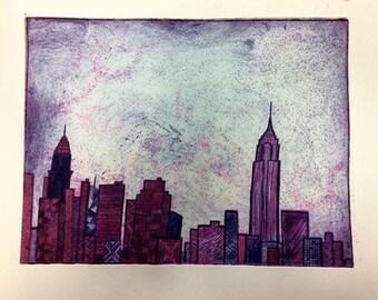 NYC Skyline Drypoint Art Print