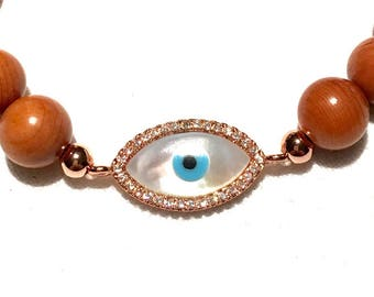Evil Eye bracelet, Lucky Eye Bracelet, Wood Bracelet, Gemstone Bracelet, Rose Gold Plated Charm, Wooden beads, Surfer Bracelet, CZ charm