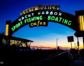 Santa Monica Pier sign at Sunset