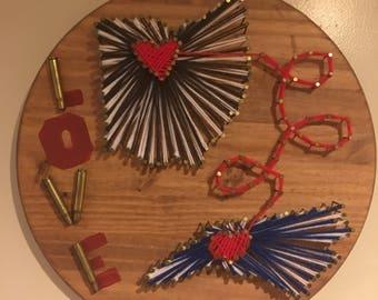 State yarn love wood sign