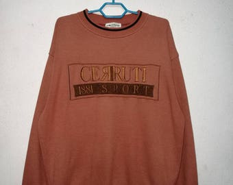 Vintage Cerruti 1881 Sport Embroidered Big Logo Sweater Sweatshirt