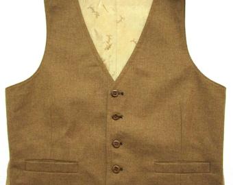 Vintage REVERSIBLE Brown wool Vest 38 ~ waistcoat