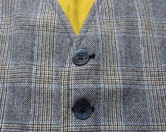 Vintage Wool TWEED Vest ~ size 42 ~ waistcoat WEDDING ~ Glen Plaid