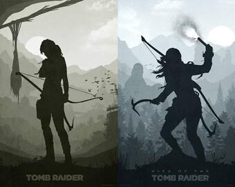 Tomb Raider (2 piece set) minimalist posters - digital