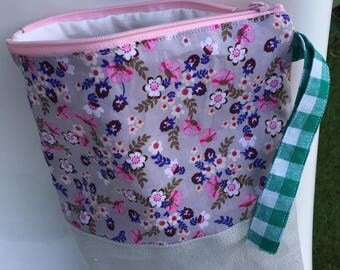 Kit patchwork linen gray and pink mix flower