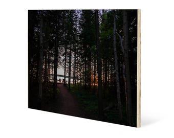 Romantic woods landscape wall art, printed on maple wood panel