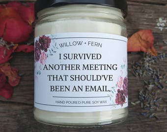 Funny Office Gift, Coworker Gift, Boss Gift, Funny Work Gift, Funny Candle, Sassy Candle, I Survived a Meeting, Meetings Suck Candle