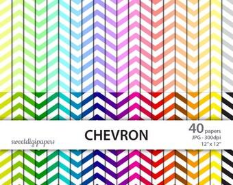 Chevron Digital Paper Pack, Rainbow Background, Chevron Digital Paper, Colorful Chevron Scrapbook, Chevron Background, Chevron Pattern