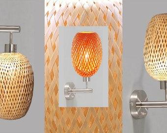 Pair of wall lamps, lampshades braided bamboo. Original Tamislight