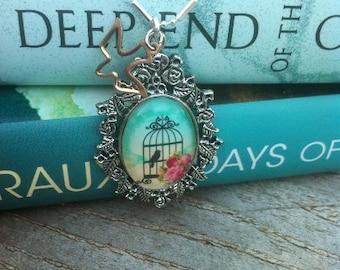 Blue Birdcage Cameo Necklace-hand made