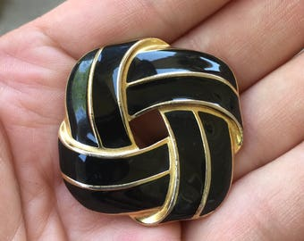 Trifari Black Enamel and Gold Tone Brooch