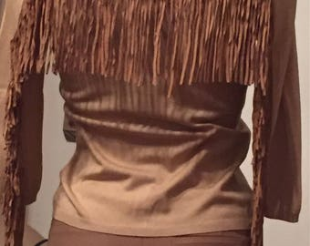 BLUMARINE silk top with leather trim size S