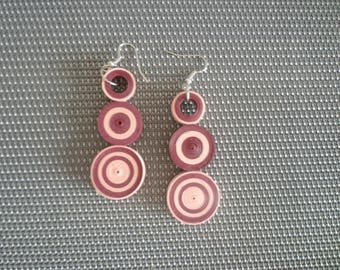 Burgundy and pink earrings