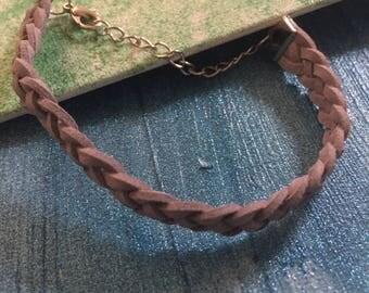 Grey suede bracelet