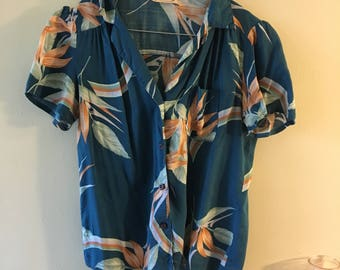 Vintage 60's Tropical Button Up Blouse