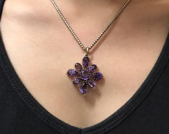 Early Victorian amethyst cross pendant in gold, circa 1850