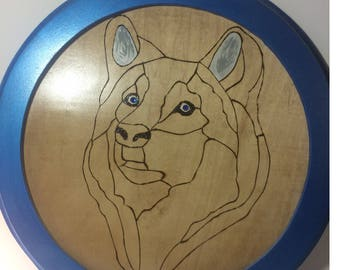 Framed Wood Burnt Wolf