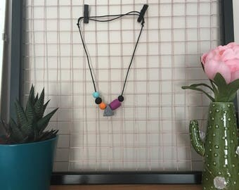 90s Geometric Necklace // Polymer Clay Necklace