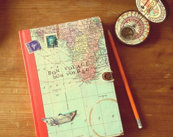 Wold map travel journal, ruled A5 notebook, vintage stamps