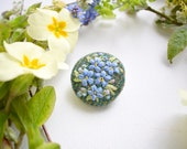 Fabric Brooch, Forget-me-nots Badge, Tweed Badge, Hand Embroidered, Textile Art, Blue Flowers