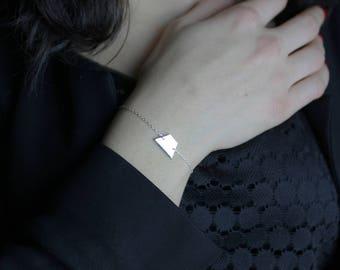 Trapezium bracelet silver plated / silver plated line Bracelet