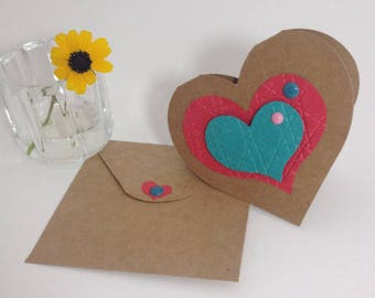 FRIDAY REFRESH! Greeting Cards Mini Gift Cards Set of 4 Heart-Shaped Kraft Brown and Multiple Colors