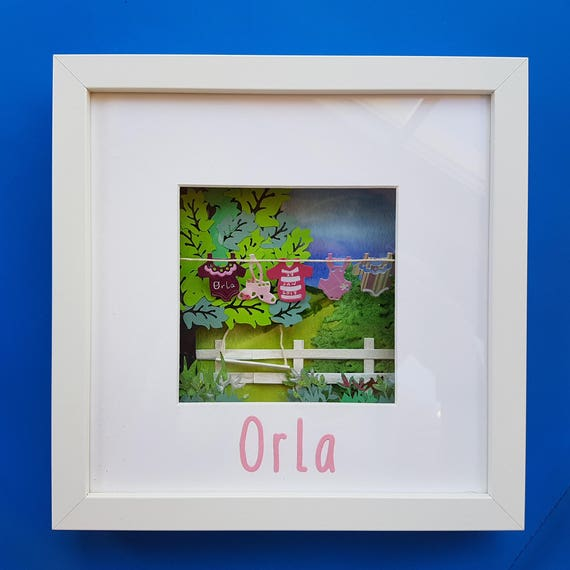 Wall Art Washing Line : Items similar to framed art personalised gift baby