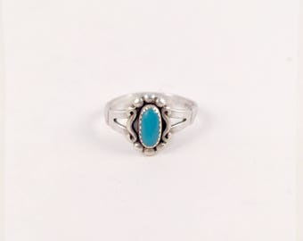 Vintage Hand Made Sterling Silver Navajo Native American Natural Turquoise Ring Size 6.25