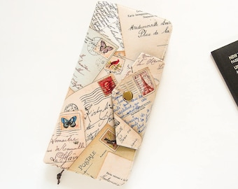 Family Passport Wallet, Large Travel Wallet, Family Travel Wallet, Passport Organizer in Postcards from Paris - Made To Order