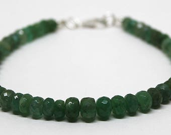 Genuine Zambian Emerald Faceted Roundel Gemstone Bracelet/May Birthstone Jewelry/Gifts For Her/ Emerald Beads Bracelet/Green Stone Bracelet