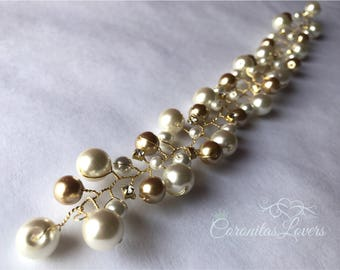Crystal and Pearls (Gold and Cream) Bridal Silver Wire Hair Vine, Wedding Hair Accessories, Bridal Hair Pieces, Bridesmaid Jewelry