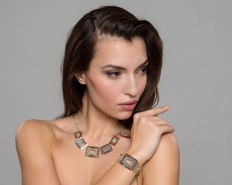 Geometric Glam Glitter Silver and Gold Tone Metal Necklace & Bracelet