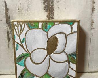 Magnolia Acrylic Painting (6x6)