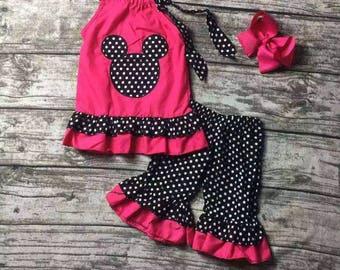 Hot Pink & Black Polka Dot Minnie Mouse Capri Set