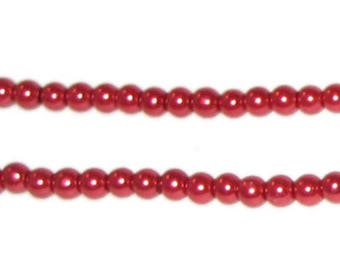 4mm Red Glass Pearl Bead, approx. 113 beads