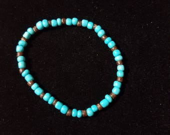 Turquoise and Wooden Bead Bracelet