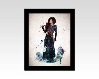 Harry Potter inspired Bellatrix Lestrange watercolour effect print