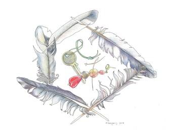 Found Feathers - Original Hand Drawn Art